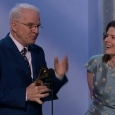 Steve Martin and Edie Brickell accept their award for Best Folk Album at the 2014 Grammy's (1/26/14)