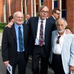 Chris Warner, Tony Trischka and Roland White outside The Ryman after the Earl Scruggs memorial (4/1/12) - photo by Terry Herd