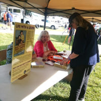 Barbara Martin Stephens signs copies of her book at the 2018 Jenny Brook Bluegrass Festival - photo by Dale Cahill