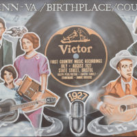 Original canvas painting of Tim White's country music mural in Bristol, TN